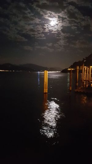 Fullmoon Reflection Night Sea Water Tranquility Scenics No People Sky Moon