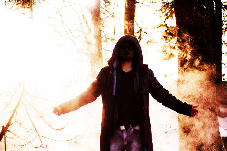 Devil inside 😈 Devil Devils Nite Out Devilinside Bad Badboy Lucifer Luci Fog Foggy Smoke Smok Dark Darkness And Light Red Tree Forest The Photojournalist - 2017 EyeEm Awards The Portraitist - 2017 EyeEm Awards