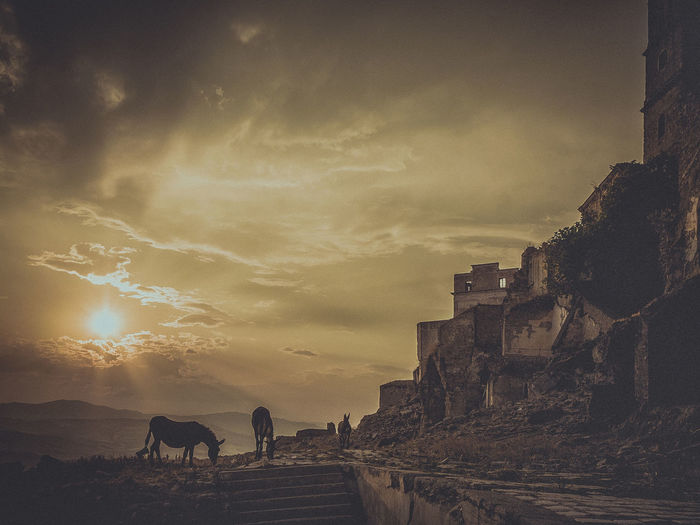 Panoramic view of  craco at sunset