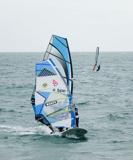 Hayling Island, UK. 3rd September 2016. Windsurfers competing in the National Watersports Festival. Low pressure conditions provided strong winds for this annual event. England England🇬🇧 Fleet Hampshire  Hants Hayling Island  National Watersports Festival Nwf Race Windsurf Windsurf Competition Windsurf Life Windsurfen Windsurfer Windsurfers Windsurfing The Color Of Sport