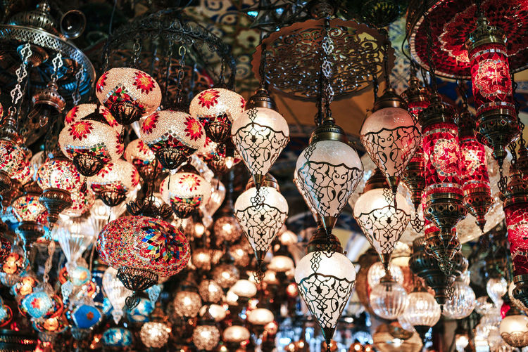 Full frame shot of decorations hanging at market stall