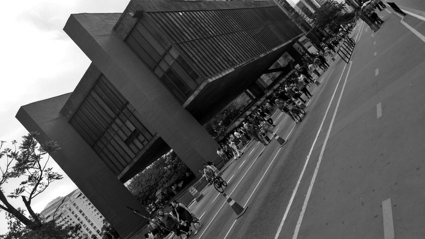 Outdoors Day Large Group Of People Architecture Building Exterior People City Crowd Street The Week On EyeEm EyeEm Best Shots Paulista Avenue Bike Tour Smartphonephotography Smartphone Photography Travel Destinations Modern City Life Built Structure Museum Museum Of Art Monocrome Photography Black & White Black And White Friday