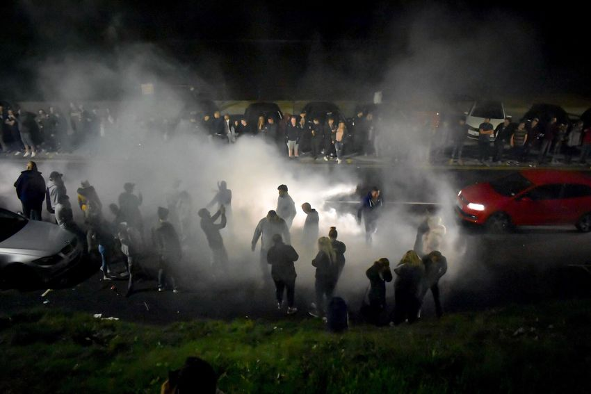 Large Group Of People Smoke - Physical Structure Real People Men Night Crowd Women Outdoors Protestor Police Force Riot People Adult Tyre Smoke Mode Of Transport Scarborough Car Meet Land Vehicle Road