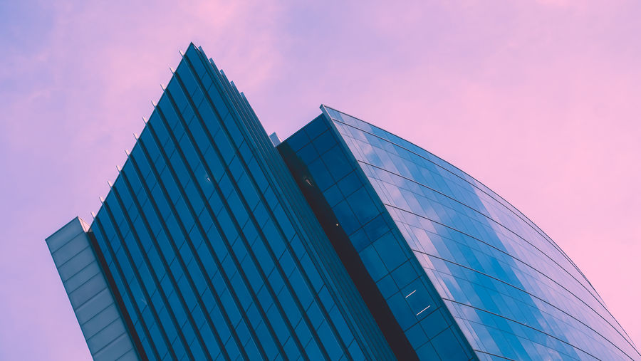The Architect - 2018 EyeEm Awards Architecture Blue Building Building Exterior Built Structure City Glass - Material Low Angle View Modern Nature No People Office Office Building Exterior Outdoors Pink Color Purple Sky Skyscraper Sunset Tall - High