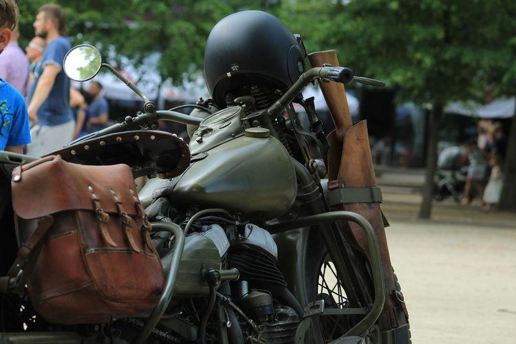 Helmet On Motorbike Parked At Street