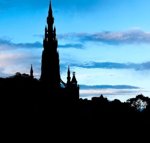 Scott Monument Silhouette Architecture Built Structure Blue Sky Outdoors Cloud Building Exterior Famous Place Edinburgh Princes Street Princes Street Gardens Evening Scotland