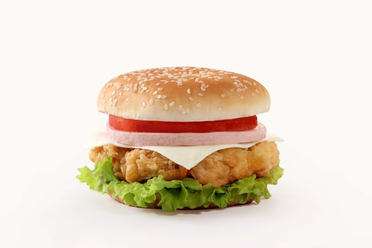 Bacon Bun Burger Close-up Cut Out Fast Food Food Food And Drink Freshness Hamburger Lettuce Meal Meat No People Ready-to-eat Studio Shot Take Out Food Unhealthy Eating White Background Chicken Burger