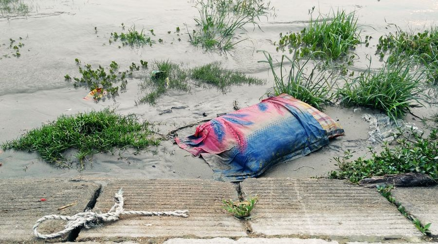 Close-Up Of Abandoned Pillow