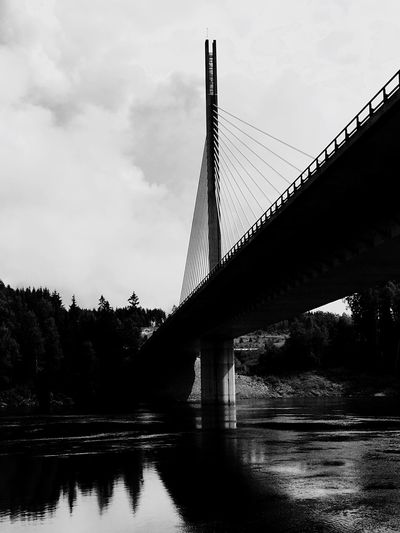 Bridge Water Norway Black And White River Glomma