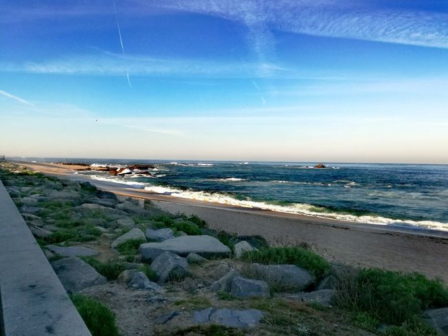 Sea Beach Sand Horizon Over Water Water Sky Nature Cloud - Sky Outdoors Day No People Beauty In Nature Blue Nautical Vessel Vacations Portugal_em_fotos Portugal Is Beautiful Caminho Do Mar Beauty In Nature Camino De Santiago Blue Sky Atlantic Ocean Coast Travel Destinations