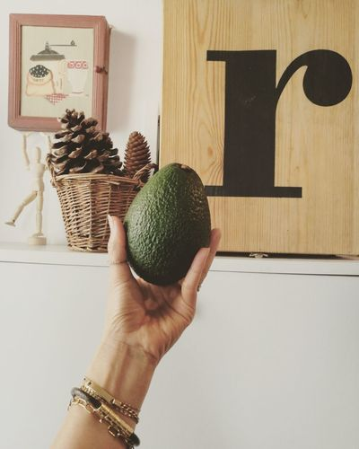 Avocado in hand Naturelover Green Fresh Nature Freshness Summertime Summer Yummy Human Hand Holding Home Interior Close-up Human Finger Wooden Finger