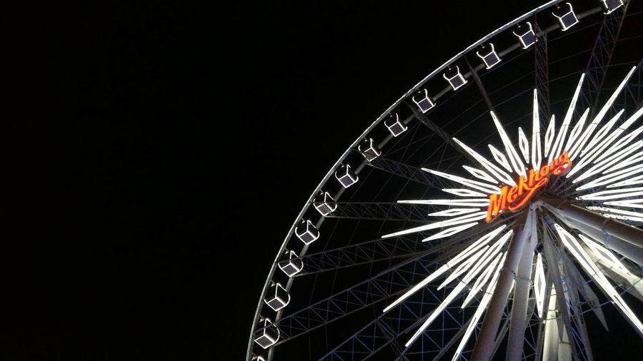 Night view at Asiatique, Bangkok. Asiatique The Riverfront Bangkok Thailand. Ferris Wheel