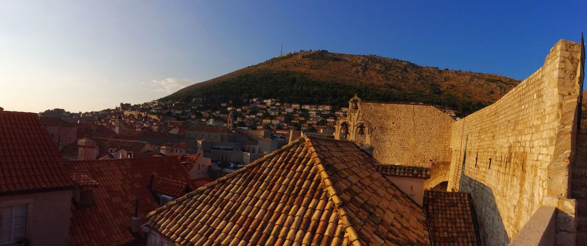 -Panorama Croatia castle wall Dubrovnik Dubrovnik, Croatia Dubrovnik Old Town Dubrovnik Wall Castle Castle Walls Castle View  Croatia Panorama Old Buildings Nature Evening