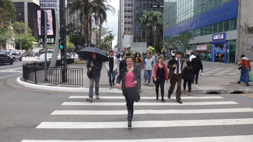 PAULISTA AVENUE SAO PAULO BRAZIL Architecture Architecture Building Exterior Built Structure Car City City City Life City Street Crossing Crosswalk Eyeem Market EyeEm Team Full Length Large Group Of People Men On The Move Outdoors Road Road Marking Standing Street Transportation Walking Zebra Crossing