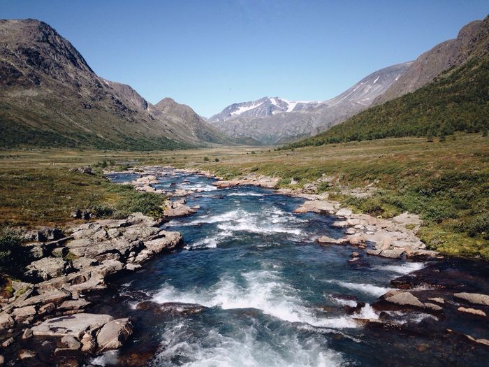 River, Jotunheimen National Park, Norway Mountain Scenics Nature Tranquil Scene Beauty In Nature Landscape Outdoors Mountain Range Water No People Tranquility Day Wilderness Clear Sky Lake Sky Norway Jotunheimen