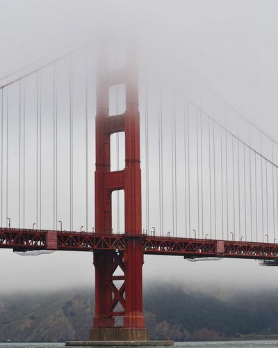 Golden gate bridge in foggy weather