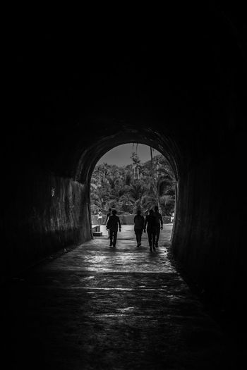 Tunnel Walking Architecture Arch Indoors  Silhouette Full Length Built Structure Togetherness Child Two People Day People Adult Childhood Real People Bonding City
