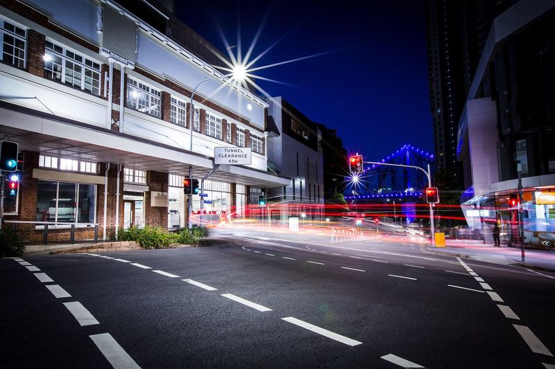 Explore Brisbane city after work. Even it is still early summer, it way to warm to walk around in streets. Beautiful Brisbane. Light Trail Illuminated Cityscape Nightphotography Streetphotography Building Exterior Night City City Street Long Exposure