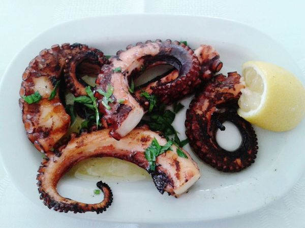 Food And Drink Food Plate Healthy Eating Octopus Ready-to-eat