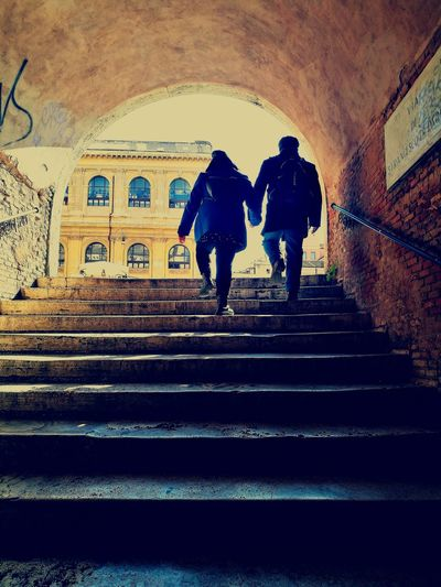 Couple in Rome Two People Silhouette Walking Togetherness Real People Architecture