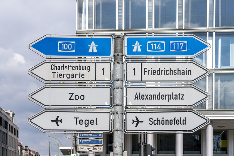 Information sign on road