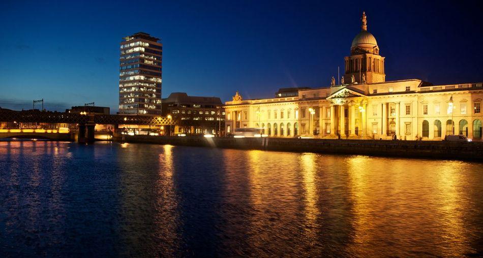 Dublin at Night Dublin Ireland City Cityscape Nighttime River