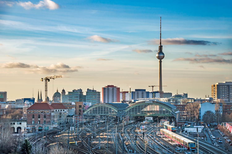 Berlin Berliner Ansichten Railway Friedrichshain Ostbahnhof Station Architecture Built Structure Building Exterior City Tower Travel Destinations Cityscape Sky Building Travel Tall - High Cloud - Sky High Angle View Spire  Office Building Exterior Nature Tourism No People Skyscraper Outdoors Global Communications Modern