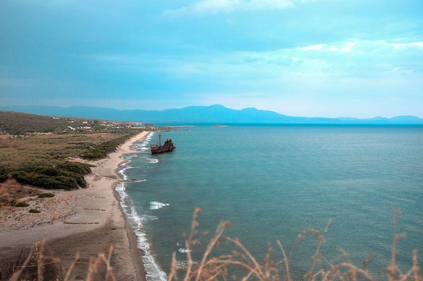 "The shipwreck of ""Dimitrios"" off the coast of Valtaki in Peleponnese, Greece. Beach Greece Nature Nautical Vessel No People Outdoors Sand & Sea Sea Shipwreck Sky Water"