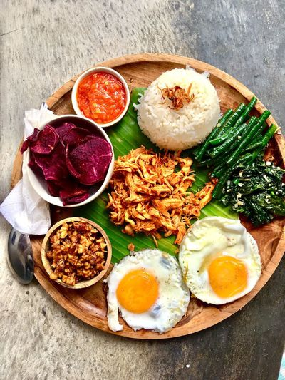 Food And Drink Food Freshness Ready-to-eat Healthy Eating High Angle View Egg Wellbeing Directly Above Indoors  Meal Table Plate Breakfast Still Life No People Bowl Fried Close-up Egg Yolk
