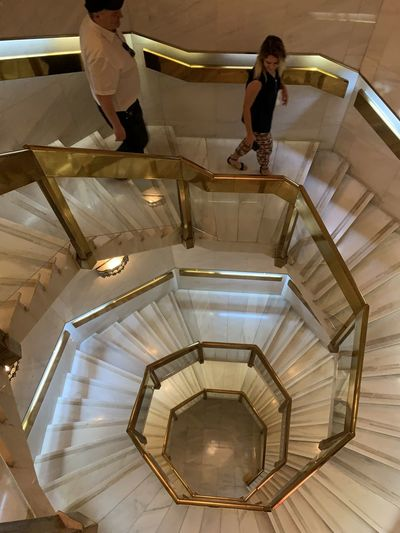 High angle view of people on staircase