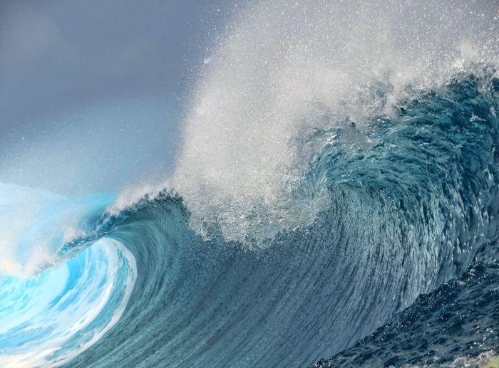 View of waves splashing on sea