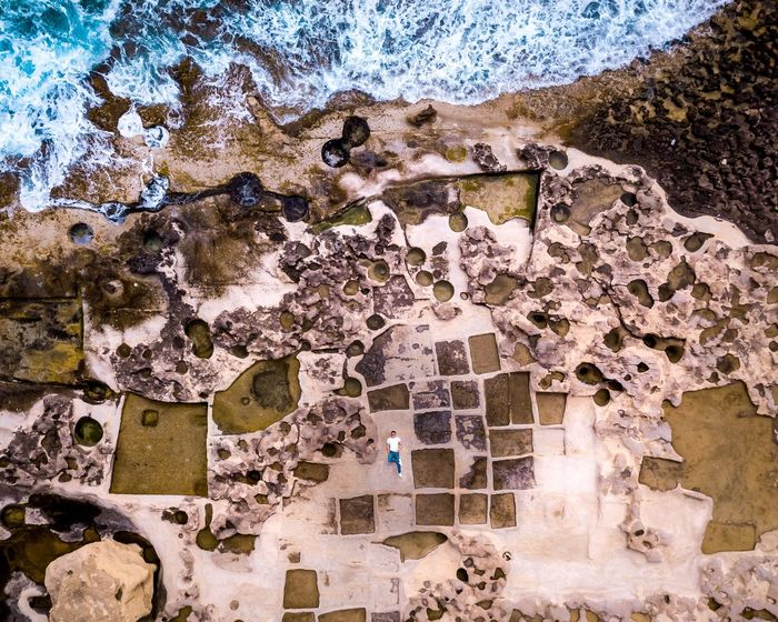 Salt Pan Drone Selfie, Malta Ocean MALTA❤ Malta Drone Shot Drone Selfie Salt Pan Gozo Malta Gozo Island Gozo High Angle View Real People Day Architecture Nature Men One Person Pattern