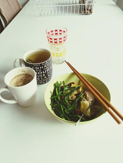 Wonton Dumplings Breakfast ♥ Coffee ☕ Tea Sundried Tomato Chinese Chives