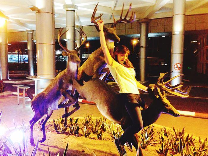 Enjoying Life Situation Sculpture Fun rodéo sur cerf de métal 😜 That's Me