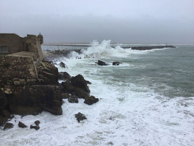 PENICHE, PORTUGAL - February 3: Huge waves from Storm Doris crash against the breakwater in Peniche, Portugal on February 3, 2017. Sea Power In Nature Storm Doris Weather Climate Change Storm Peniche, Portugal Coastline Wave Waves, Ocean, Nature Europe Rough Sea Extreme Weather Stormy Weather