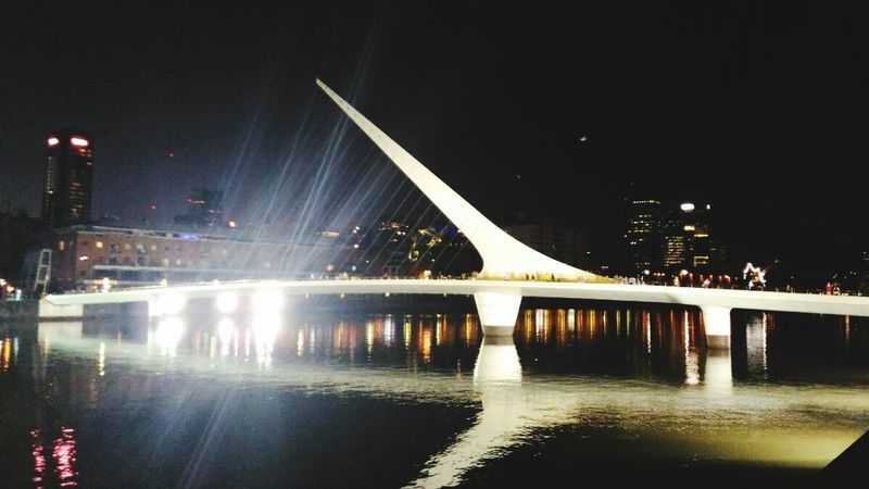 Bridge - Man Made Structure Illuminated Night Architecture Built Structure Reflection Travel Destinations No People Water City Argentina Argentina Photography Buenos Aires, Argentina  Puente De La Mujer