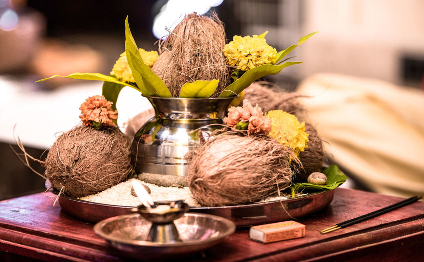 Indian pooja thaali as offering to god.