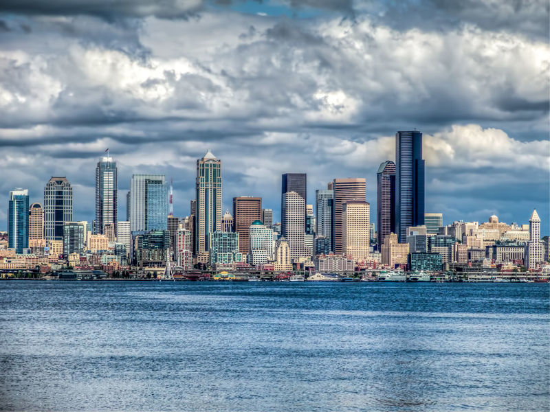 A view of the Seattle skyline. Cityscape Elliott Bay Emeral City Pacific Northwest  Seattle Skyline Skyscrapers Washington State Architecture Landscape No People Outdoor Outdoors Scenics Sky Travel Destinations Water Waterfront