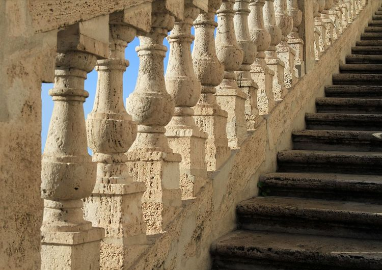 Detail of an ancient staircase in rome