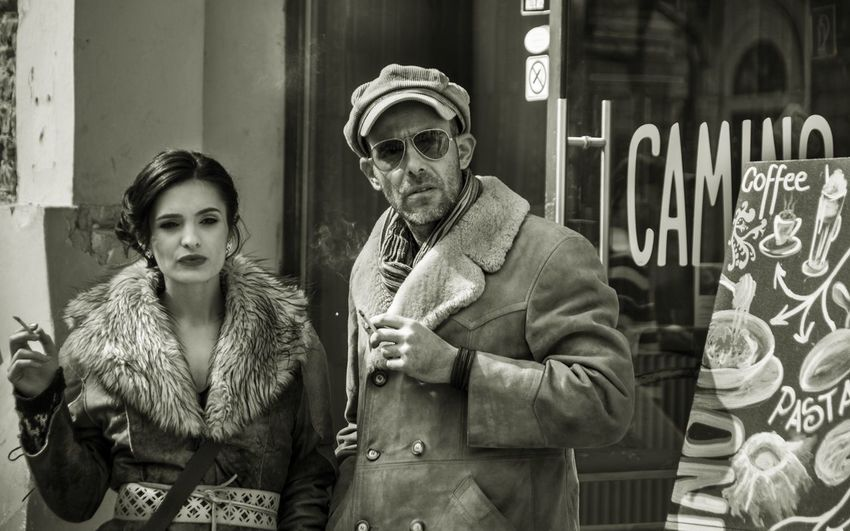City Couple - Relationship Day Fur Coat Gangster Style Lifestyles Outdoors Overcoat Real People Retro Styled Smoking The Street Photographer - 2017 EyeEm Awards First Eyeem Photo