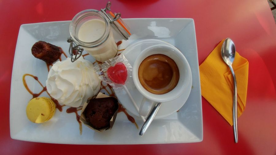 EyeEm Selects High Angle View Of Dessert Cafe Gourmand  Marseille Vieux Marseille Sweet Food Directly Above No People Food And Drink Coffee And Dessert Eat Dessert First Macaron Red And White