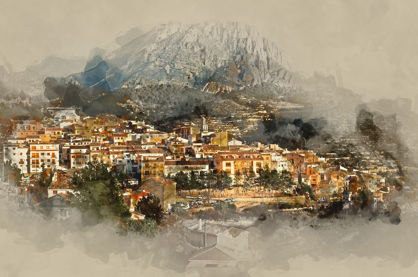 Sella village, old village in Spain. Alicante province. Digital watercolor painting Abstract Alicante Province Spain Beauty In Nature Beutiful  Digital Art Digital Watercolor Digital Watercolor Painting Digitally Generated Image Drawing Europe Houses Illustration Landscape Mountain Outdoors Scenery Sella SPAIN Spanish Town TOWNSCAPE Travel Destinations Typical Village Watercolor