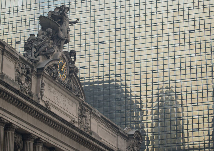 Abstract Contrast Design Grand Central Station Historic Low Angle View Modern New York City Ornate Reflection Sculpture Trains Travel