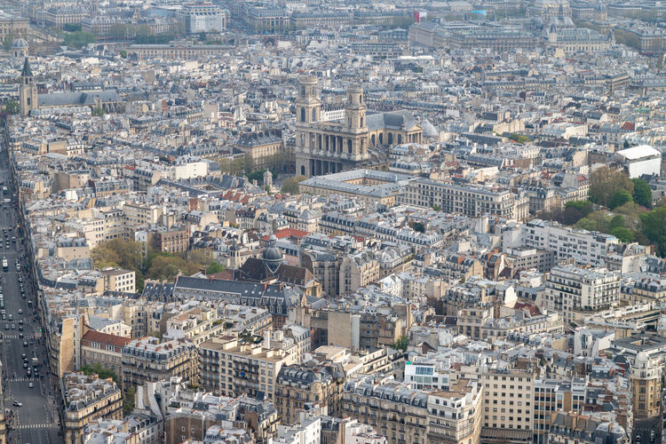 Aerial view from tour montparnasse at the city of paris, france