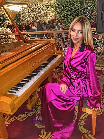 Purple Flower Purple Kimono Blonde Hair Young Women Piano People And Places Schimmel