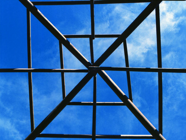 Architecture Backgrounds Blue Built Structure Ceiling Cloud - Sky Day Design Directly Below Full Frame Geometric Shape Glass - Material Look Up Low Angle View Metal Nature No People Outdoors Pattern Patterns & Textures Shape Sky Skylight