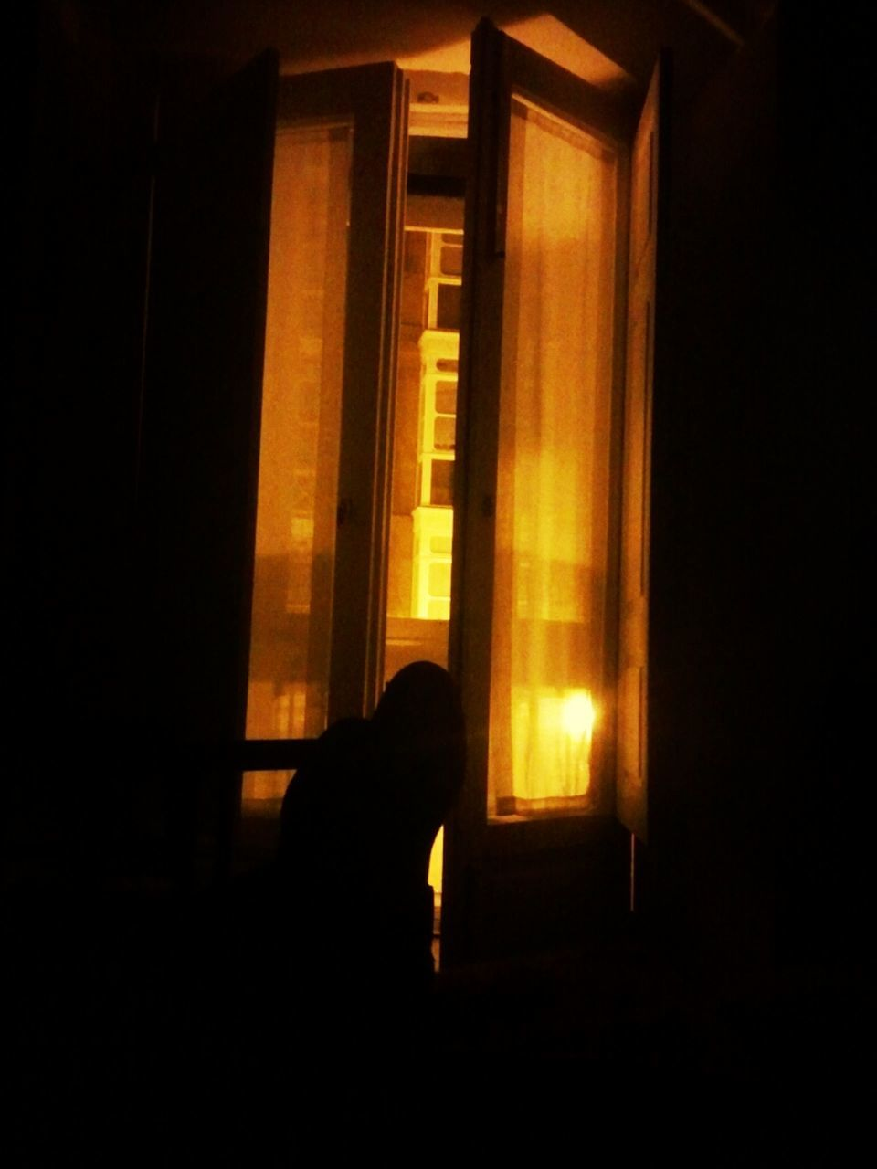 indoors, window, silhouette, one person, drapes, real people, day, people