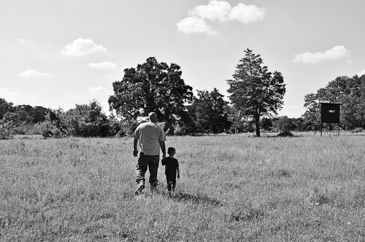 Live For The Story ]Nature PawPaw Black And White Photography ]Walking Field Grandson