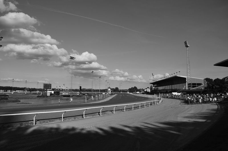 Clouds Clouds And Sky Curve Day At The Races Horsetrack Malmö Racetrack Shadow And Light Stadium Sweden Sweeping Sports Photography Blackandwhite Photography Black And White Photography