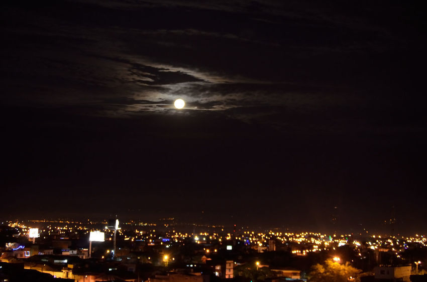 CALI COLOMBIA EyeEmNewHere Moon Over City City Sky Cityscape Moon Night Night Sky Lost In The Landscape EyeEm Ready   Stories From The City This Is Latin America